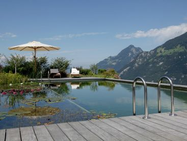 natural pool in Switzerland with view on lake