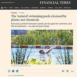 natural swimming pools cleansed by plants